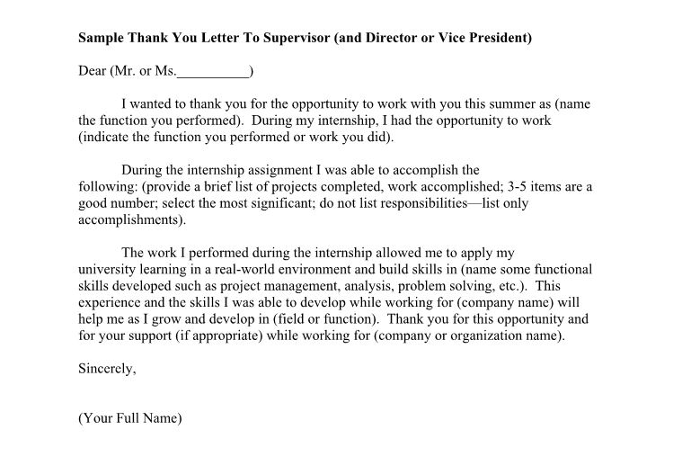 Thank You Letter To Supervisor from www.freetemplatedownloads.net