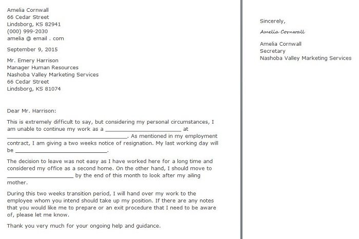 Two Weeks Letter Of Resignation from www.freetemplatedownloads.net