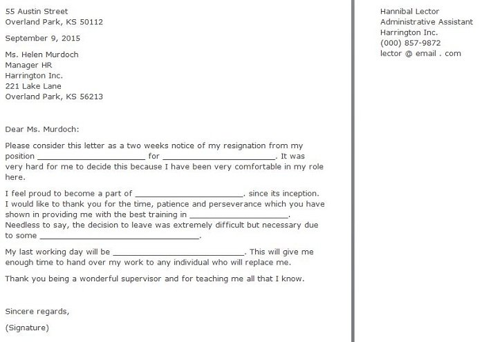 Letter Of Resignation Example Two Weeks Notice from www.freetemplatedownloads.net