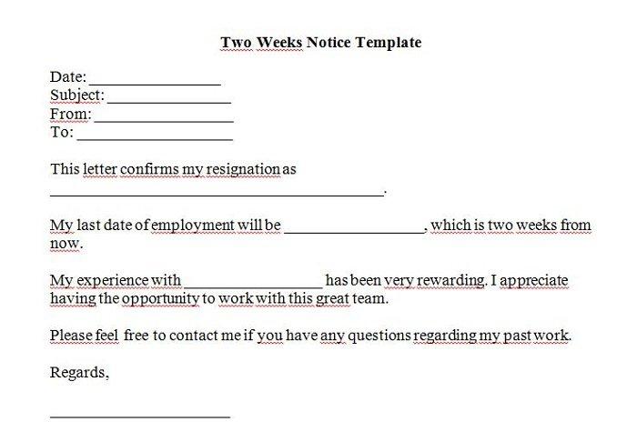 Letter Of Resignation Samples 2 Week Notice from www.freetemplatedownloads.net
