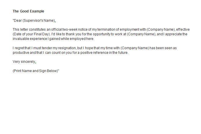 Sample Letter Of Resignation 2 Weeks Notice from www.freetemplatedownloads.net