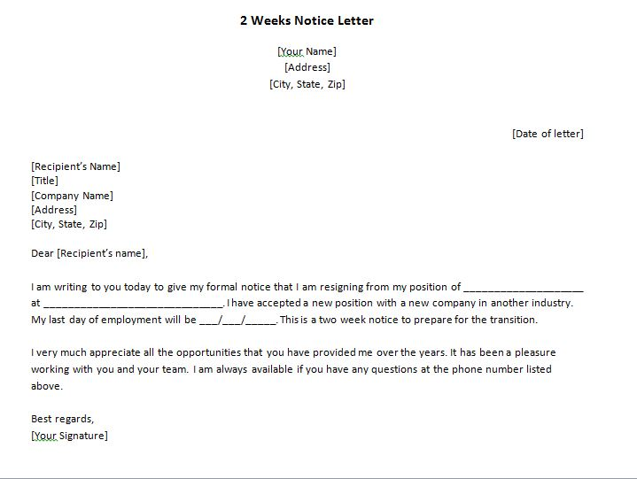how to write a 2 week notice letter for work 40 two weeks notice letters amp resignation letter samples 22382