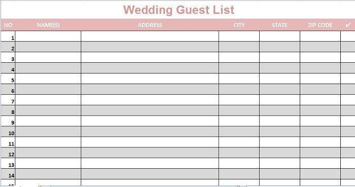 It's just a graphic of Free Printable Wedding Guest List Template pertaining to checklist