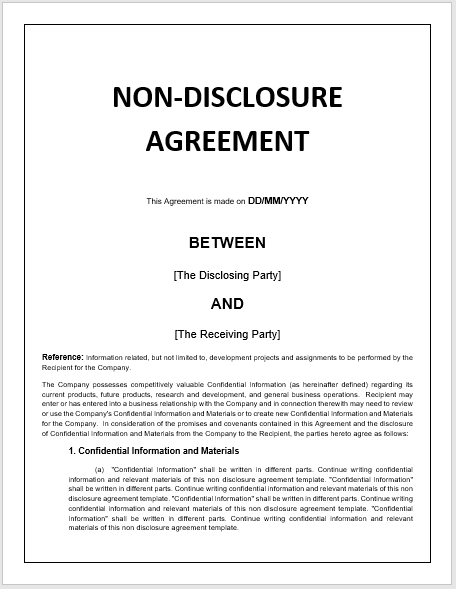 Non-Disclosure Agreement Templates