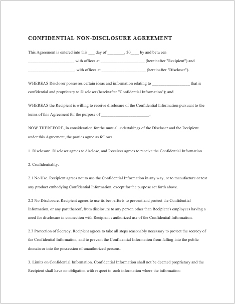 37 Free Non Disclosure Agreement Templates In Ms Word Pdf
