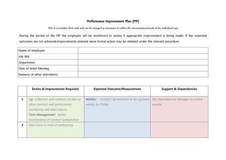 43 Free Performance Improvement Plan Templates Examples