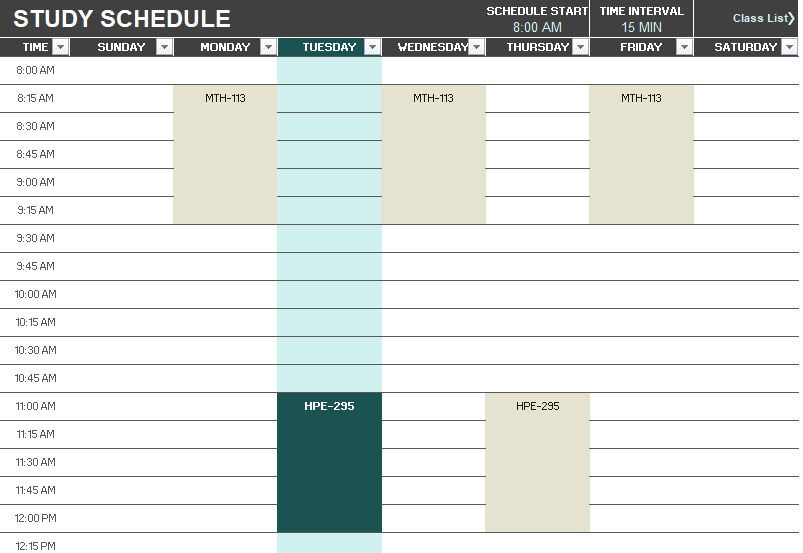 8 Free Study Schedule Templates Ms Excel Format