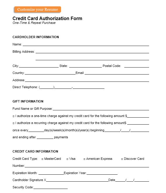 credit card authorization form template 16