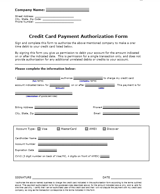 credit card authorization form template 19