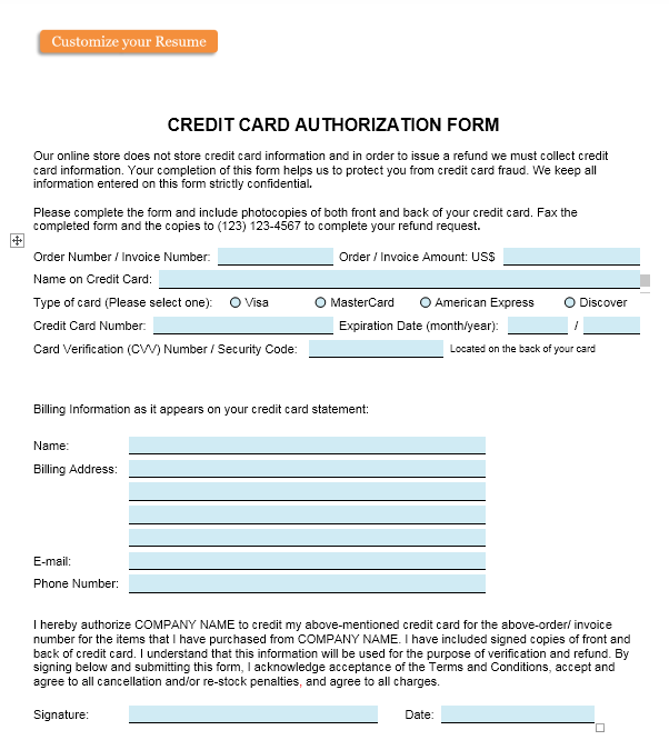 credit card authorization form template 20