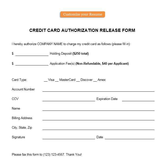 credit card authorization form template 21