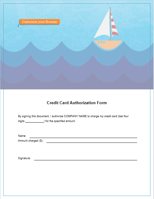 credit card authorization form template 25