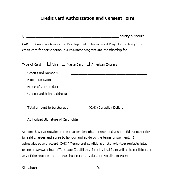 credit card authorization form template 27