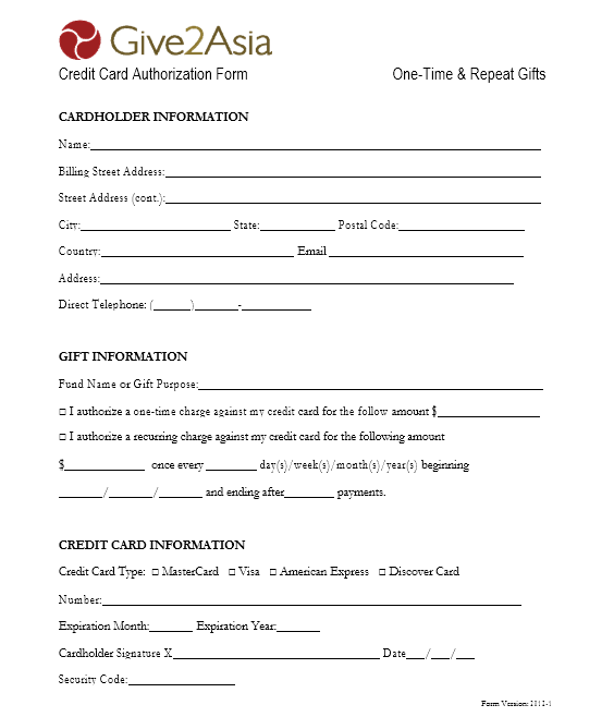 credit card authorization form template 28