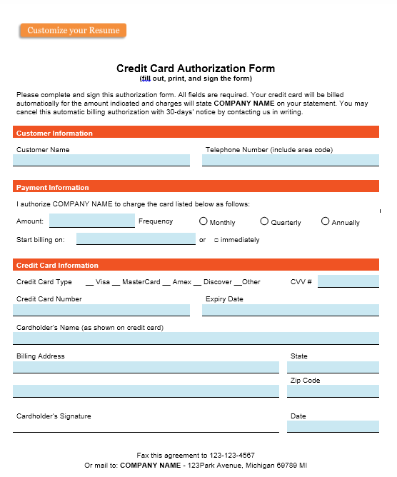 credit card authorization form template 31