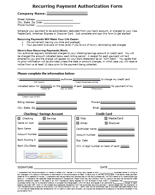 credit card authorization form template 32