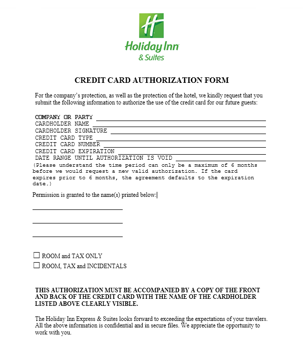 credit card authorization form template 33