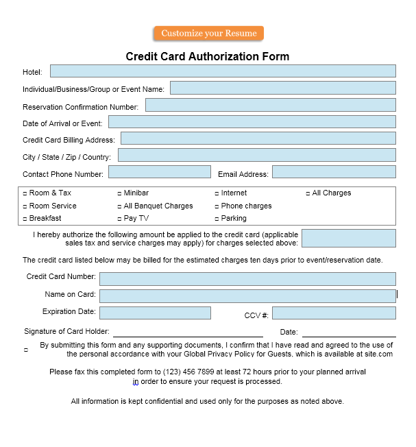 credit card authorization form template 35