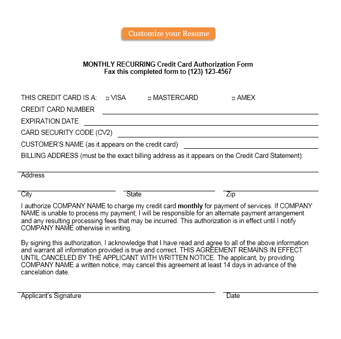 credit card authorization form template 36