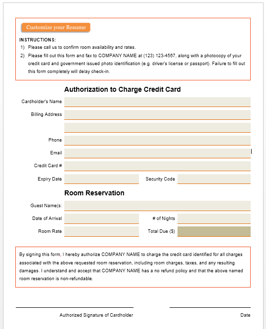 credit card authorization form template 37