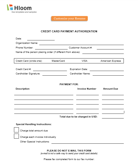 credit card authorization form template 38