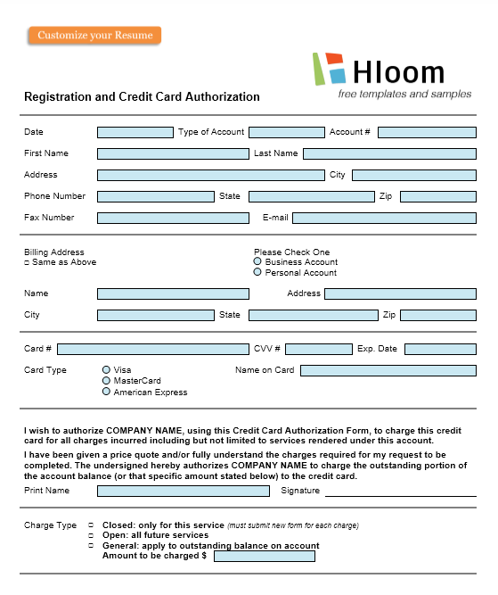 credit card authorization form template 39