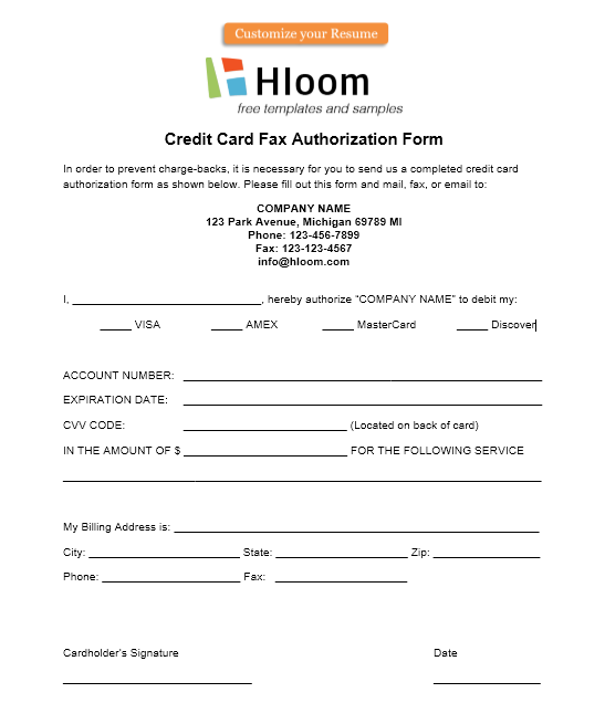 credit card authorization form template 40