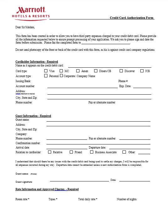 credit card authorization form template 41
